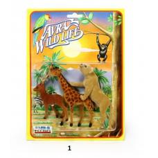Άγρια ζώα φιγούρες σε καρτέλα σε 3 σχέδια - 002787