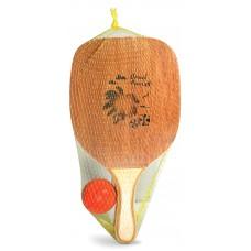 Ρακέτες ξύλινες 16mm με πλαστικό μπαλάκι - 1391