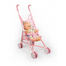 Καρότσι ροζ μεταλλικό με δώρο κούκλα - 004354