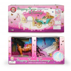 Άμαξα πριγκίπισσας μπαταρίας με άλογο & κούκλα - 2318